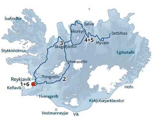 En kør-selv ferie rute i Island der passer perfekt til en aktiv ferie.