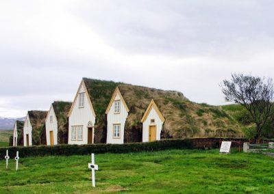 Tørvehytterne ved Glaumbær i Island.