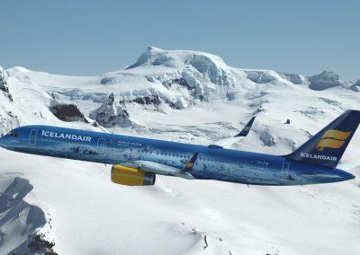 Icelandair og Vatnajökull.