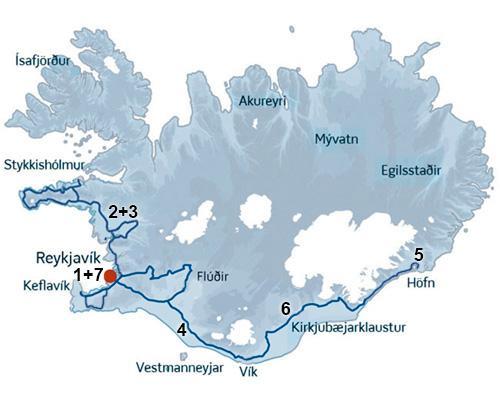 En dejlig kør-selv ferie rute der bl.a bringer jer til Jökulsárlón ved Varnajökull. ISLANDSREJSER - rejser til Island.