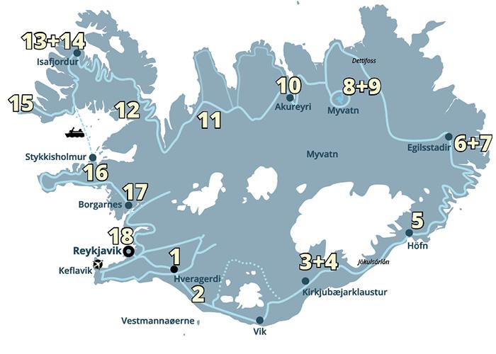 Vulkaner og gletsjere, gejsere og vulkaner - og alt hvad Island har at byde på. En kør-selv ferie og rejse til Island I aldrig glemmer.