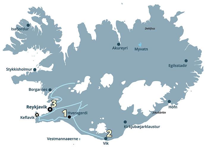 Gullfoss Geysir Thingvellir Kør-selv ferie og bilferie med ISLANDSREJSER
