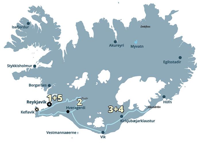 Nordlys og gletsjere er nogle af de oplevelser der indgår i denne kør-selv-rute i Island.