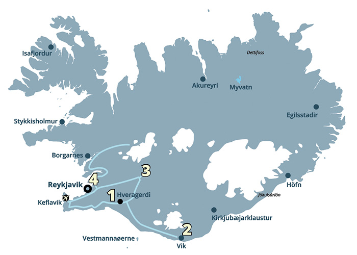 En pakkerejse til Island og de kendte seværdigheder i Den Gyldne Cirkel og sydkysten