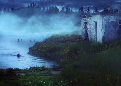 Aftenstemning ved Secret Lagoon ved Flúdir