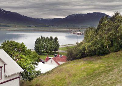 Smuk udsigt fra Akureyri mod syd