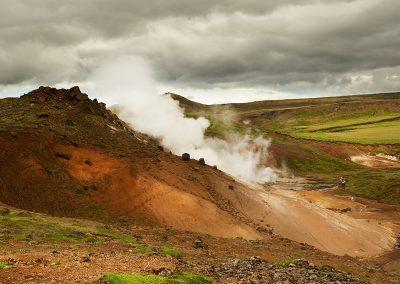 Kraftig geotermisk aktivitet i Hengill ved Hveragerdi