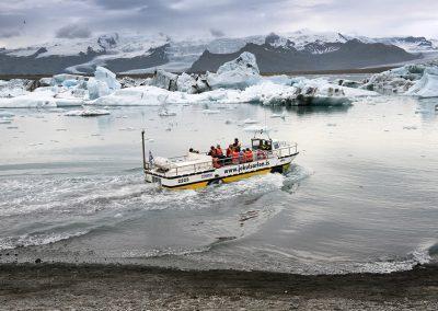 Sejltur på Jökulsárlón gletsjerlagune i Island