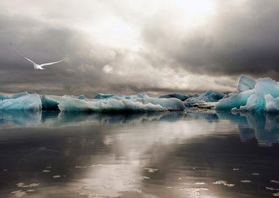 Jökulsarlon gletsjerlagune i Island