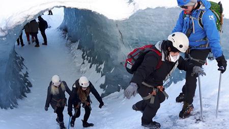 Gletsjervandring ved Skaftafell i Island