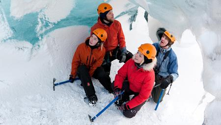 Solheimarjökull gletsjervandring med isklatring.