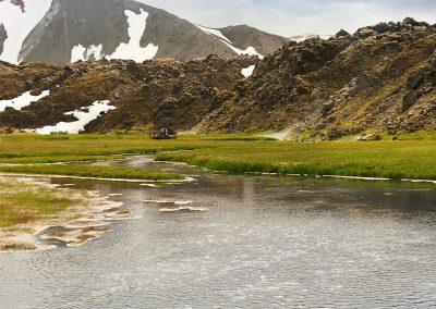 Det geotermiske badeområde ved Landmannalaugar