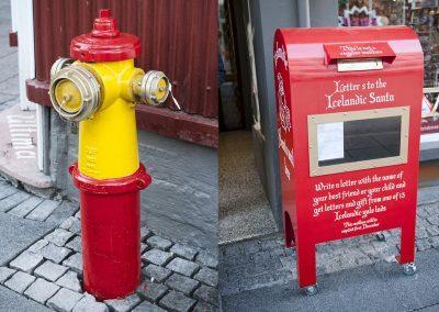 Klassisk syn i Reykjavik - flotte farver på vandpumperne og så julemandens postkasse på hovedgaden