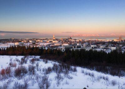 Dejligt vinterlandskab over Reykjavik