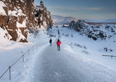Kløften ved Thingvellir i Island