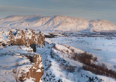 Smukt vinterlandskab ved Thingvellir i Island