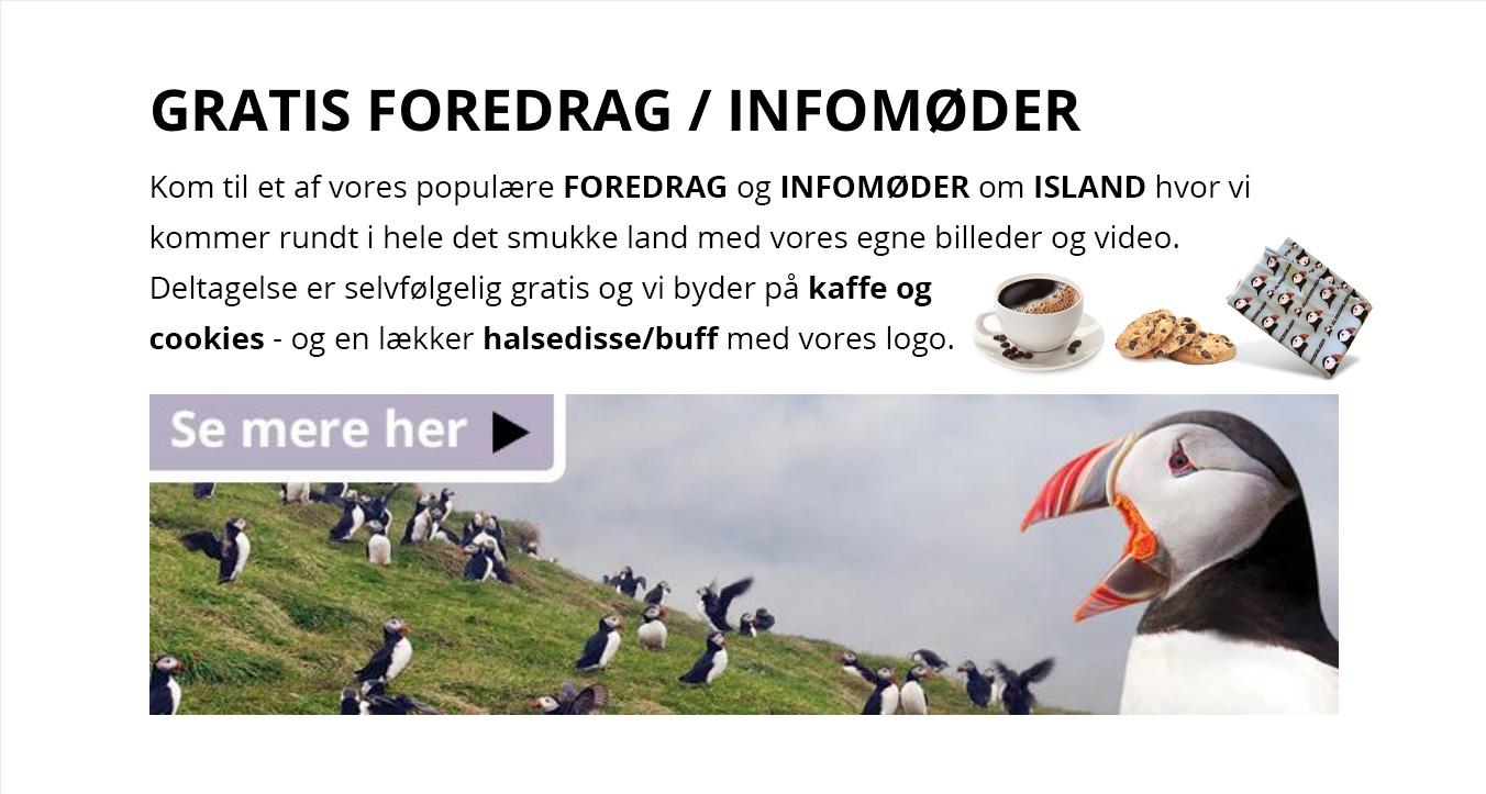 Foredrag om Island - gratis. Vi byder på kaffe og cookies - ISLANDSREJSER
