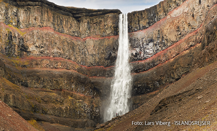Hengifoss Østfjordene i Island på kør-selv ferie med ISLANDSREJSER og rejser til Island