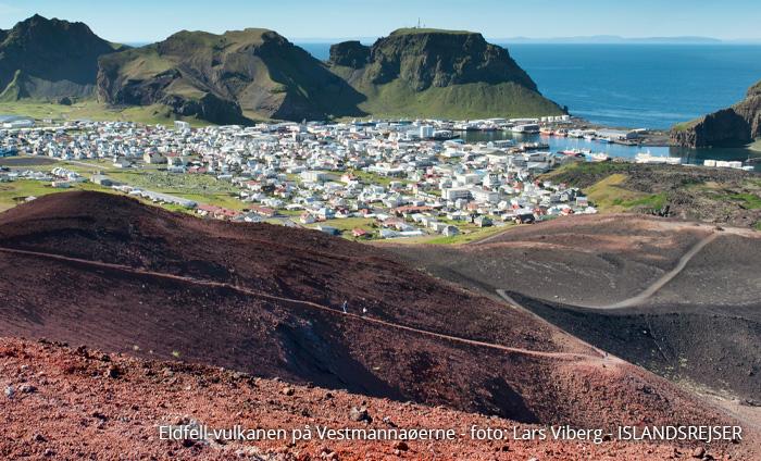 Vulkanerne i Island ig Eldfell-vulkanen på Vestmannaøerne - kør-selv ferie og rejser til Island