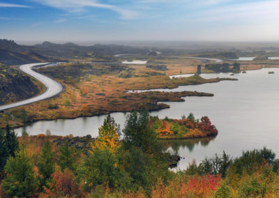 Klassisk landskab ved Myvatn på kør-selv ferie bilferie og grupperejser i Island med ISLANDSREJSER