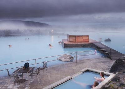 Aftenstemning ved Myvatn Naturbade på kør-selv ferie bilferie og grupperejser i Island med ISLANDSREJSER